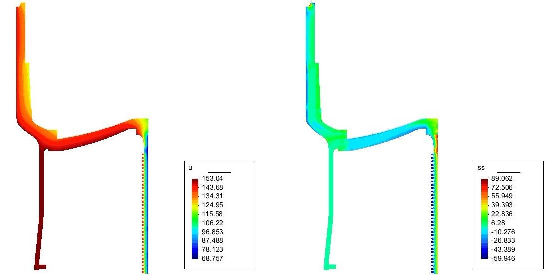 温度边界下(工况二)构件温度场分布云图VS温度边界下(工况二)构件环向应力分布云图,机械行业应用解决方案