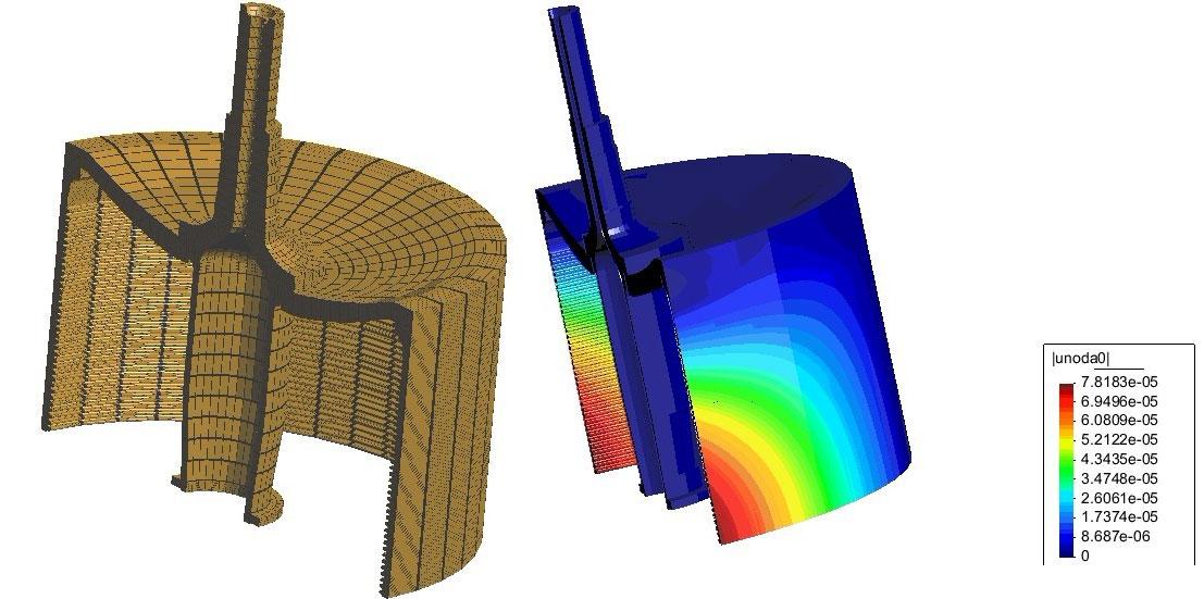 三维有限元计算分网图VS总位移云图,机械行业应用解决方案