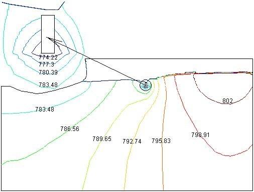 岩溶管道横剖面等水头线,岩石与地下工程数值模拟解决方案