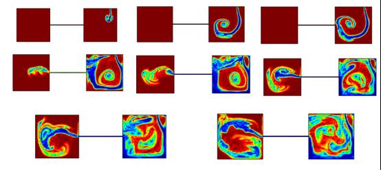 图4 某时刻中间缝连通时洞内油水浓度变化